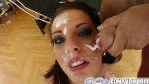 Cum For Cover Skinny brunette s cocksucking facial fest