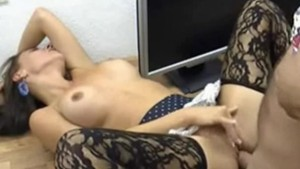 Hot office chick anal in panty