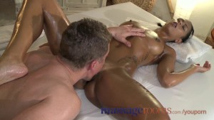 Massage Rooms Beautiful black girl s pussy trembles as she cums hard