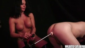Busty mistress anal fucks slave with spunk lubed sex machine toy