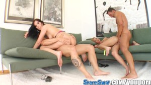Sperm Swap Two hotties fucked by lucky guys share the cumshot