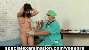 Sweet brunette and horny doctor