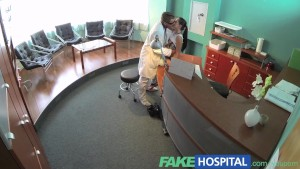 FakeHospital Sexy patient bent over the receptionists desk and fucked from behind