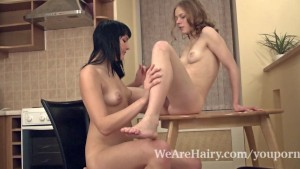 Hairy girls Emilija and Ksenija like to get dirty