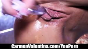 Kinky Carmen Valentina Fucks her Pussy with a Glass Dildo