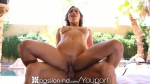 Passion-HD Girl with natural tits rides pool boy s cock