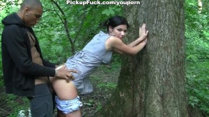 Ebony hard fuck girl in the forest for 200 euros