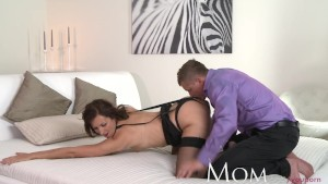 MOM Sexy MILF in black stockings gets her pussy pounded till he cums