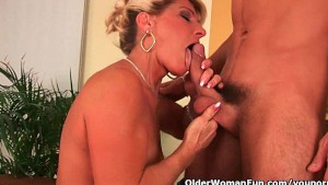 Cumming on a grandmas face