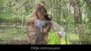 Party girl Nataly meets an old man in the woods and fucks him sweetly