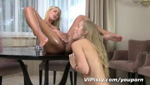 Sexy blonde girlfriends soaked head to toe in fresh pee