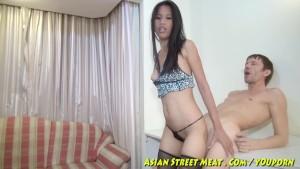 Bobbing Anal Asian Slapper In Blue Leopard Skin