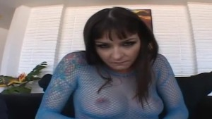 Tattooed young slut in fishnets JOI