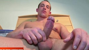 Straight soccer player get wanked his huge cock by us !