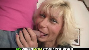 Granny rides her daughter s man cock as she gone