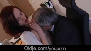 Old boss fucks his young secretary on the desk