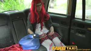 FakeTaxi Halloween customer gets a full taxi facial