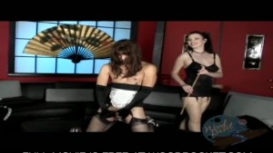 Dominatrix forces him to cum in a maid uniform
