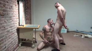 Tattood hunk gets a bareback fucking - Damon Doggs Cum Factory