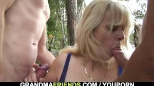 Hot 3some with old blonde outdoors