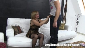 Mature Maid Fucks Boy On Sofa