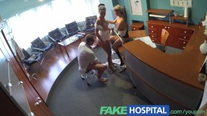 FakeTaxi Nurse joins doctors threesome for the first time