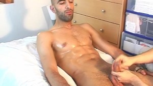 A real straight french arab guy get wanked his huge cock by a guy despite of him!