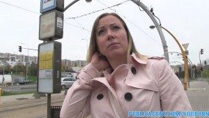 PublicAgent Blonde Bibi fucks a stranger outside for a free rail card