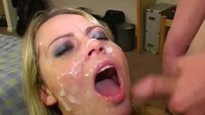 Facials and cumshots in bukkake for Alexis May
