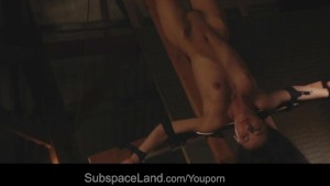 Vicky suckcock while tied and suspended on a cross