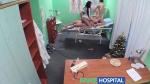 Fake Hospital Sexy nurse joins the doctor and the cleaner for an amazing threesome