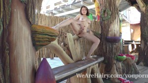 Sandy finds a tree spot and strips naked outdoors