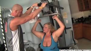 Hot Blonde BBW Fucks Her Trainer At The Gym