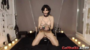 Tied up kink brunette chick Heather