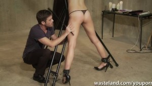 Stuning brunette gets tied up