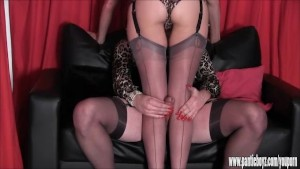 Sissy has hard cock rubbed by hot pair of nylon feet then wanks on big tits