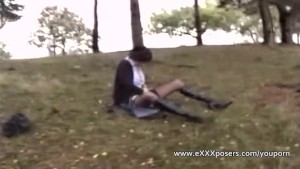 Woman is paid to masturbate outdoors