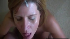 Real mature wife getting a sticky facial
