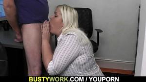 Blonde secretary blowjob and fuck at work