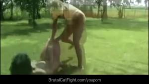 Crazy blonde spanks brunette and puts her suck