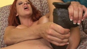 Busty redhead with brutal dild