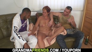 Interracial granny double penetration