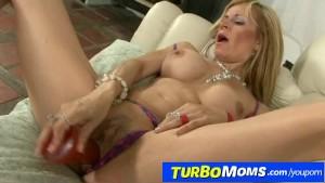 Skinny blonde lady Alejandra enjoys sex with younger bloke
