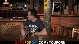 He seduces hetero bartender into gay game
