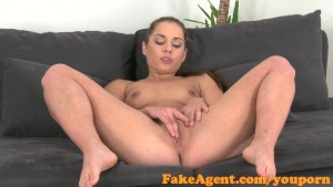 FakeAgent Cute brunette gets her round ass covered in spunk