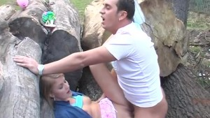horny couple fucks in nature
