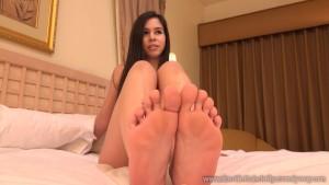 Cute Brunette Has Feet Worshipped Before Receiving a Cumshot
