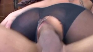 Busty brunette fucking in ripped up pantyhose