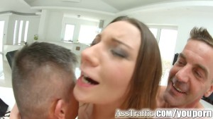 Ass Traffic Nympho double fucked ass to mouth and cum swallow