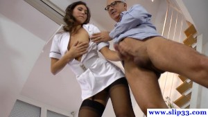 Uniform amateur pussyfucked by old guy
